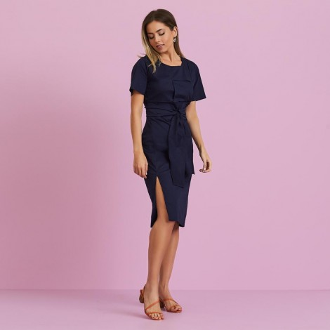 vestido tricoline marinho ref 44159952