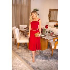 Vestido midi vermelho Ref 30030149