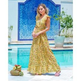 Vestido fundo amarelo-estamp. florzinhas ref 44192212