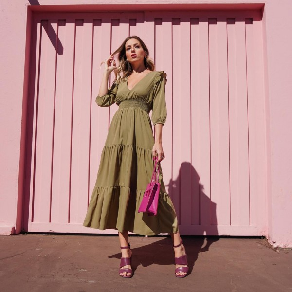 vestido crepe verde ref 30710159