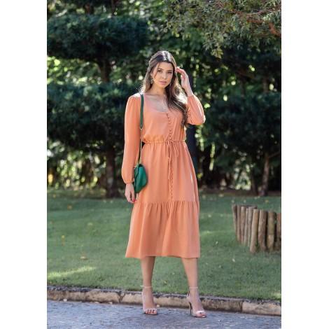 vestido midi de crepe baunilha ref 44192641